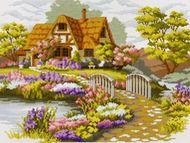 Набор для вышивки 1060-14 Мостик в цветах 43х34 см