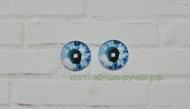 Кабошон стеклянный глаз 10 мм бело-синий, 1 пара