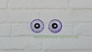 Кабошон стеклянный глаз 10 мм сиреневый, пара