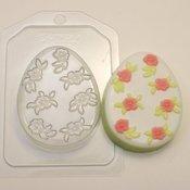 Пластиковая форма для мыла Яйцо плоское Мелкие цветочки