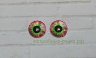 Кабошон стеклянный глаз 12 мм красно-зеленый, пара