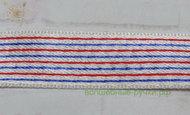 102 Лента атласная 1,9см. (вискоза) (3 белый/голубой/красный), 1 м