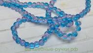 """Бусины """"битое стекло"""" (Q001-4) Двухцвет круглые 4мм Голубой"""