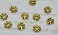 Бусина-Разделитель, Цветок, Античное Золото, 4.5х1.5мм, Отв-тие 1мм, 6804