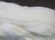 Кардочес шерсть 100% полутонкий белый Камтекс 200 гр 205
