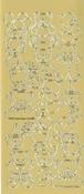 """Контурные наклейки """"Мишки"""", лист 10x24,5 см, цвет золотистый"""