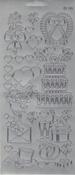 """Контурные наклейки """"Разные свадебные рисунки"""", лист 10x24,5 см, цвет серебро"""