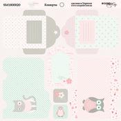 Лист двусторонней бумаги 20х20см Конверты Baby Girl от Scrapmir SM1800020