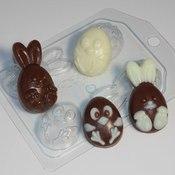 Пластиковая форма для мыла Кролик и цыпленок мультяшные (4 мини)