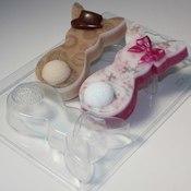 Пластиковая форма для мыла Кролики плоские Парочка
