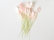 Листья мини со стебельком Розовоперсиковые светлые 2х1 см 10 шт