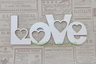 Слово Love с сердечками 250х100 мм