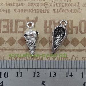 Кулон Мороженое 22,5*10*6мм, античное серебро