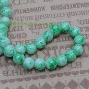 Бусины стекло окрашенные мрамор круглые 6мм Зеленый 5782