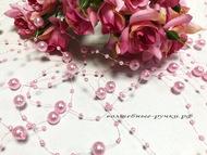 Бисер-бусы, цвет розовый, длина нити 135 см, диаметр бусин 0,8 см и 0,3 см.