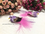 Декоративная птичка средняя на прищепке, цвет сиреневый, длинна с хвостом 10 см, высота 2 см