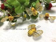 Декоративная пчелка, цвет желтый, размер 4*3 см