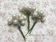Шарики жемчужные белые на пике, упаковка 10 шт, размер шарика 11 мм