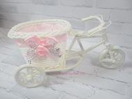 Плетеное изделие, велосипед, цвет белый с розовой лентой, размер 22*10*11 см