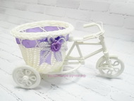 Плетеное изделие, велосипед, цвет белый с сиреневой лентой, размер 22*10*11 см