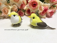 Декоративная птичка малая на проволоке, цвет  желтый, длина с хвостом 6,5 см, высота 2,5 см