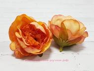 Мини пион, цвет персиково-оранжевый, диаметр 4 см