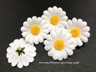 Искусственные головы ромашек, цвет белый, диаметр цветка 4,5 см 5 шт