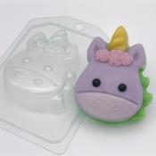 Пластиковая форма для мыла Единорог мультяшный - Анфас