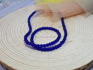 Бусины круглые на леске 4 мм, стекло (SF-3849) синий 90 бусин +/-3