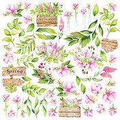 """Лист с картинками для вырезания. Набор """"Spring blossom""""."""
