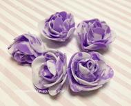 Розы 3 см фоамиран, бело-пурпурный 5 шт