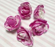 Розы 3 см фоамиран, бело-фуксия 5 шт