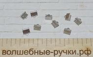 Концевики Зажимы для Лент 8х6х5мм, Платина