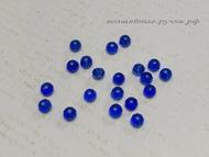Бусина стеклянная рондель граненая  42 синий 3 мм