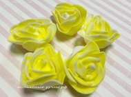 Розы 3 см фоамиран, бело-желтый 5 шт