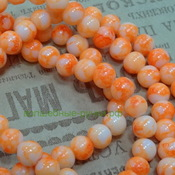 Бусины стекло окрашенные мрамор круглые 6мм Оранжевый