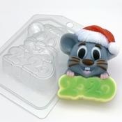 Пластиковая форма для мыла 2020 / Мышь в новогодней шапке