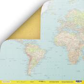 Лист двусторонней бумаги 30x30 от Scrapmir Карта из коллекции Let's Travel SM3100001