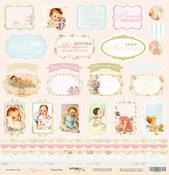 Лист односторонней бумаги 30x30 от Scrapmir Карточки из коллекции Карамель SM0800010