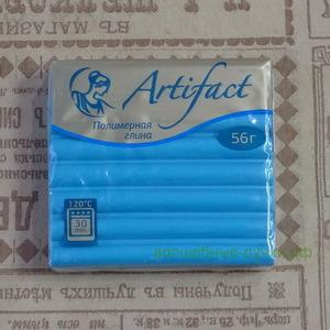 """467 Полимерная глина """"Артефакт"""" брус 56 гр.  классический Голубой топаз"""