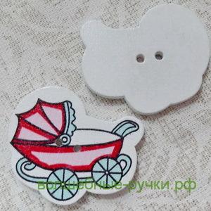 Пуговица деревянная Детская коляска 34*29мм, красный
