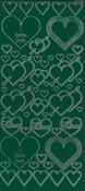 """Контурные наклейки """"Сердечки"""", лист 10x24,5 см, цвет зеленый"""