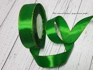 Лента атласная с люрексом 2,5 см (SF-1202) зеленый/золото №019 1 м