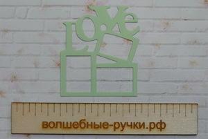 Вырубка Рамка LOVE светло-зеленый